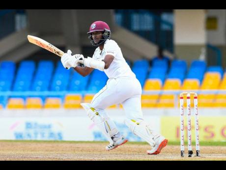 West Indies Test captain Kraigg Brathwaite plays a shot during day two of the second Test match between West Indies and Sri Lanka and the Sir Vivian Richards Stadium on March 30, 2021.
