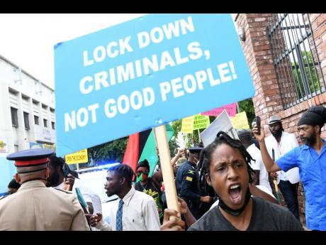 Protestors make their feelings known.